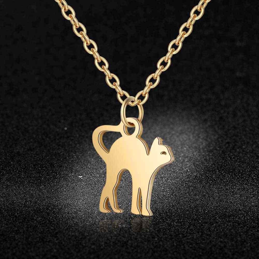 100% Stainless Steel Cute Cat Charm Necklace Vnistar Simple Design Pet Cat Pendant Necklaces Cats Women's Jewelry Necklace