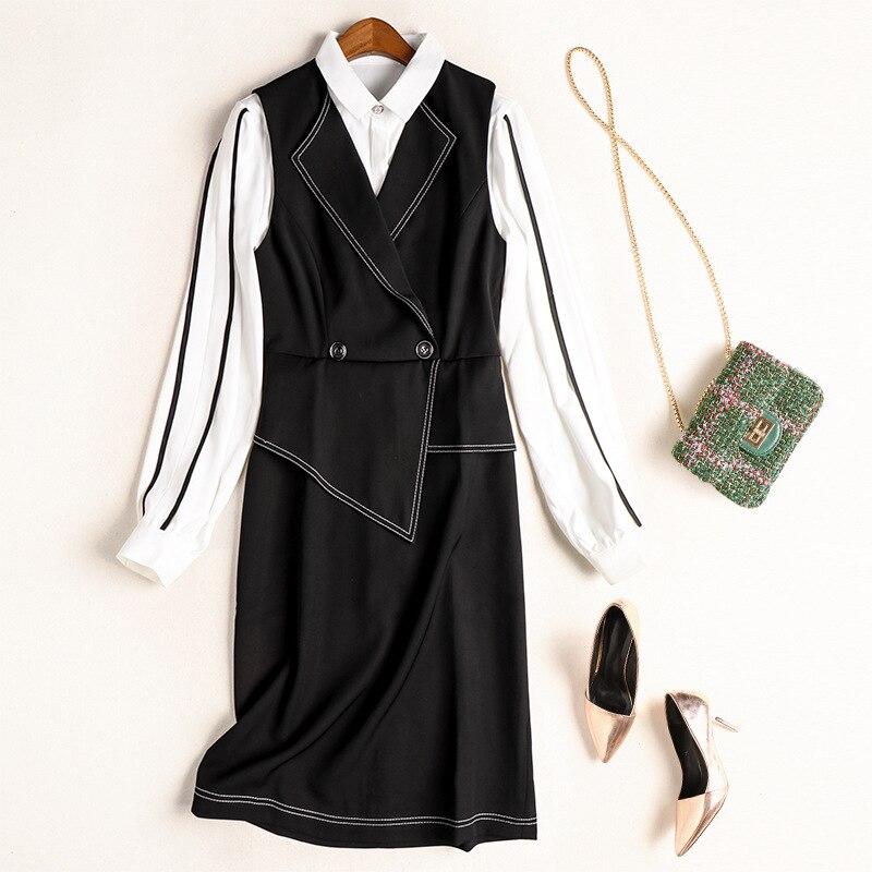 Women Dress Set 2020 Spring New Fashion Turndown collar Long sleeve Shirt + Black Vest Dress Two piece Set
