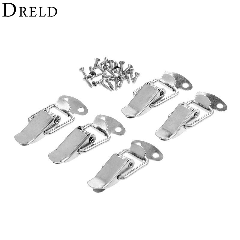 DRELD 5Pcs Furniture Cabinet Boxes Spring Loaded Latch Catch Toggle Iron Hasp For Sliding Door Window Cabinet With Screw 43*21MM