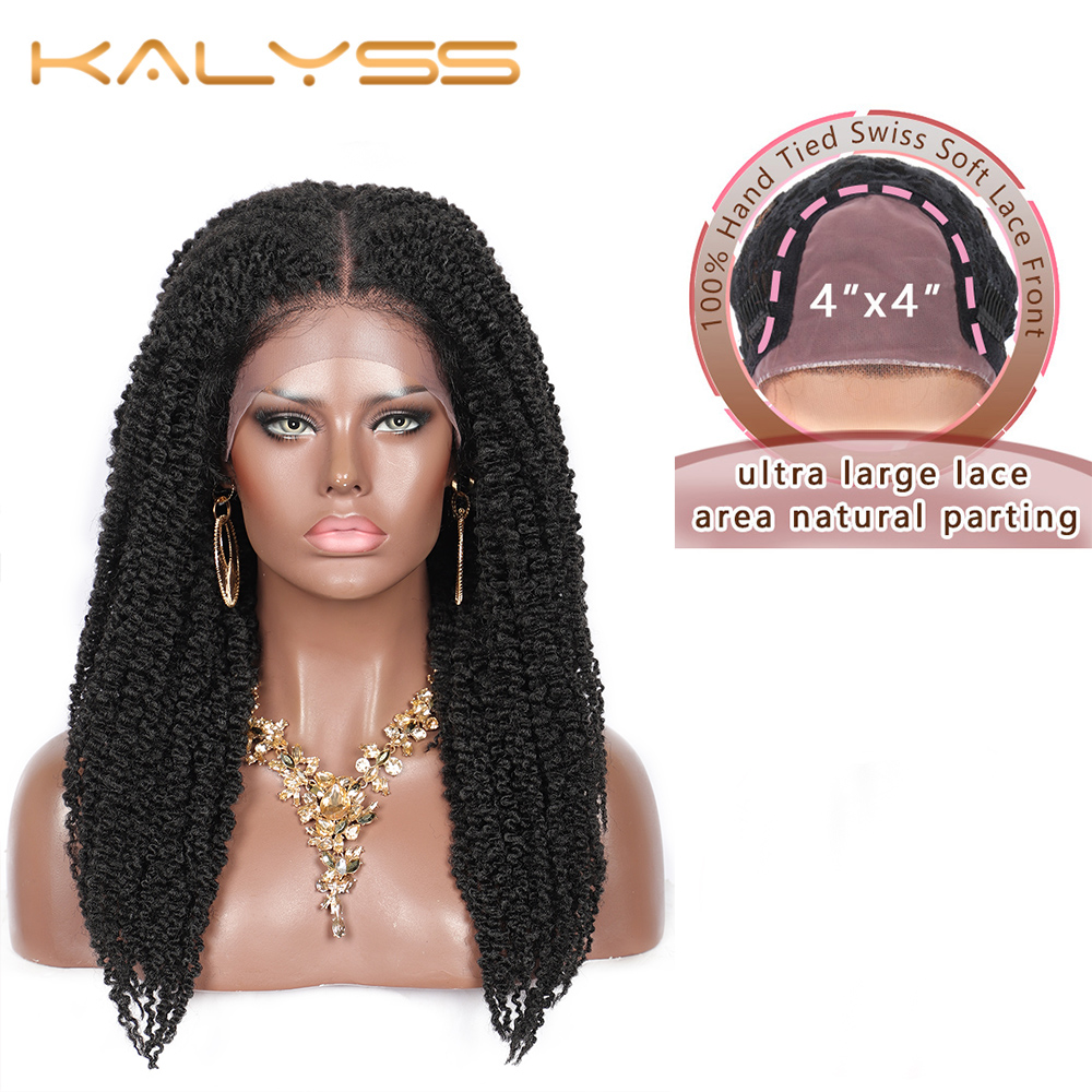 Kalyss 20 inches Braided Wigs for Black Women Cornrow Braids Swiss Lace Wigs Synthetic Lace Front Wig Twisted Wig with Baby Hair