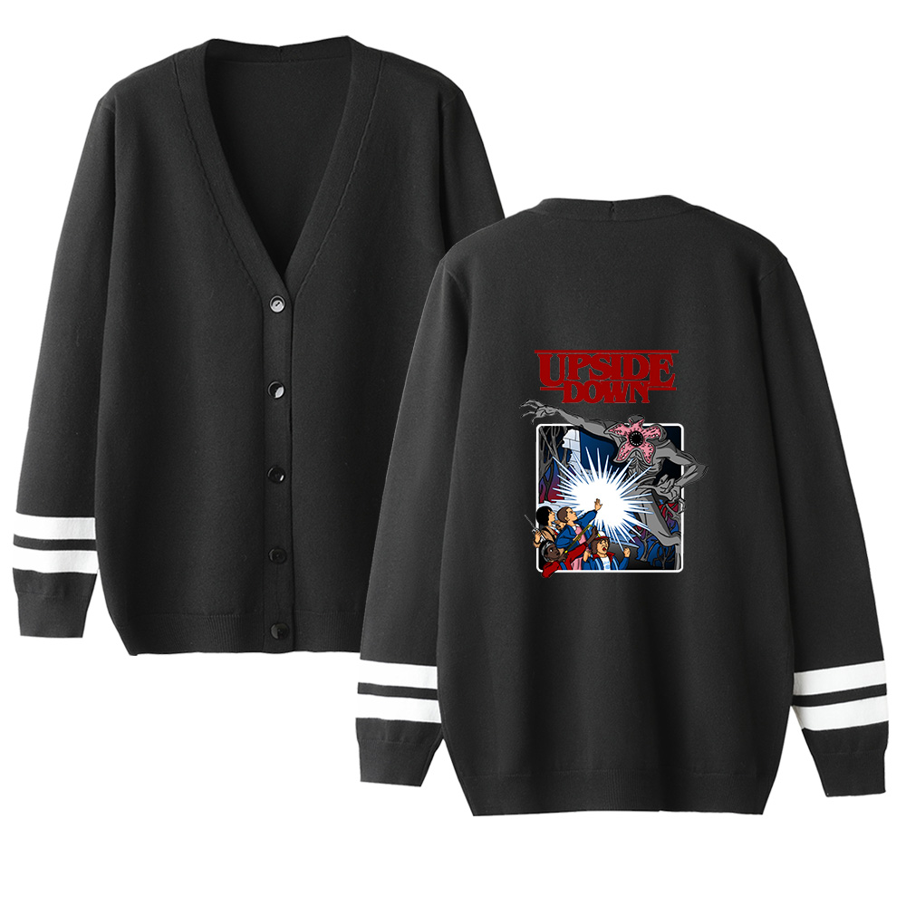 Stranger Things V-neck Cardigan Sweater Men/women Hot Fashion Casual Hip Hop Sweater Stranger Things Popular Black Casual Tops