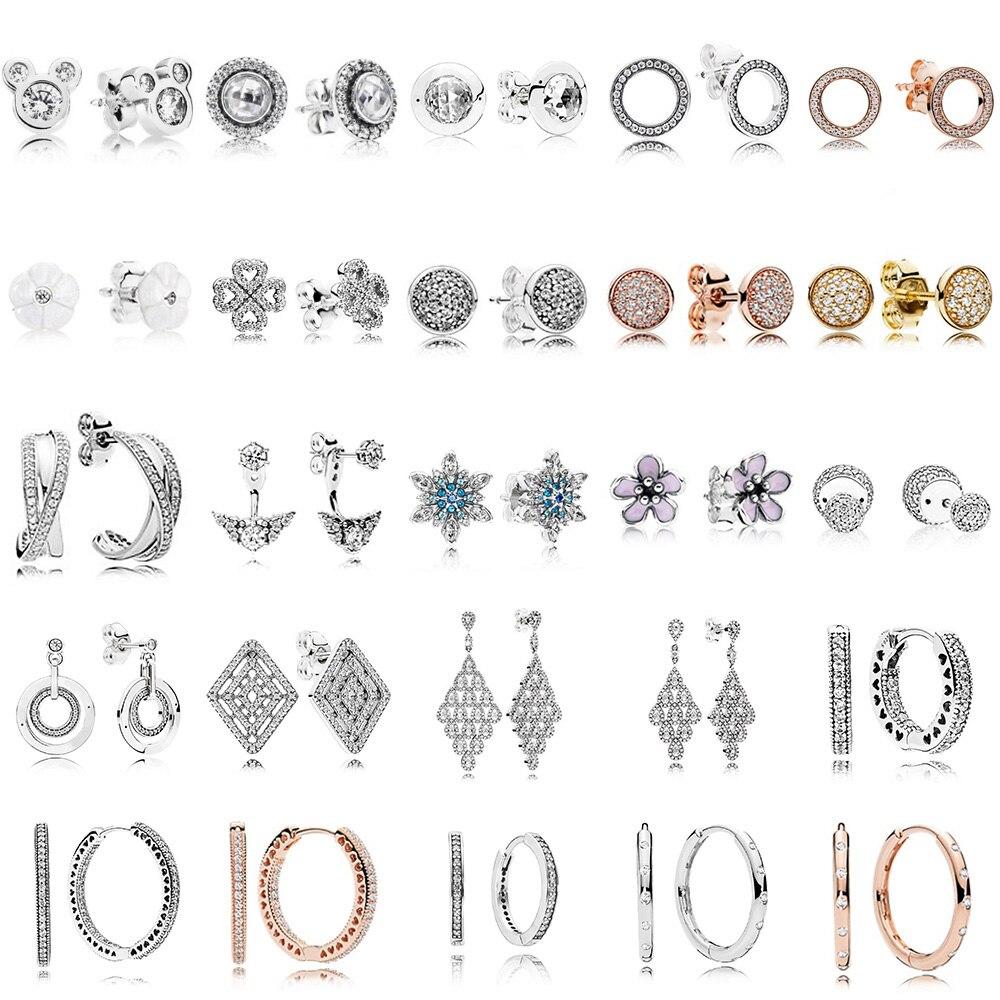 NEW 100% 925 Sterling Silver Earrings Flower Type Hollow Ear Studs Charm Beads Fit Bracelet DIY Dangler Wholesale Factory