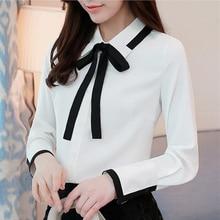Blusas de seda de moda coreana para mujer, blusas blancas de cuello vuelto, blusas y blusas para mujer talla grande XXL señoras Tops