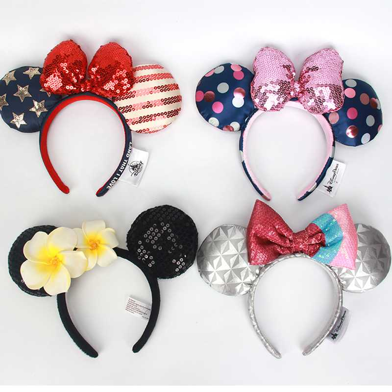 Original Headband TSUM TUSM Mickey Minnie Plush Toy Butterfly  Hoop Headwear Headdress Plush Toys Accessories For Children Girls