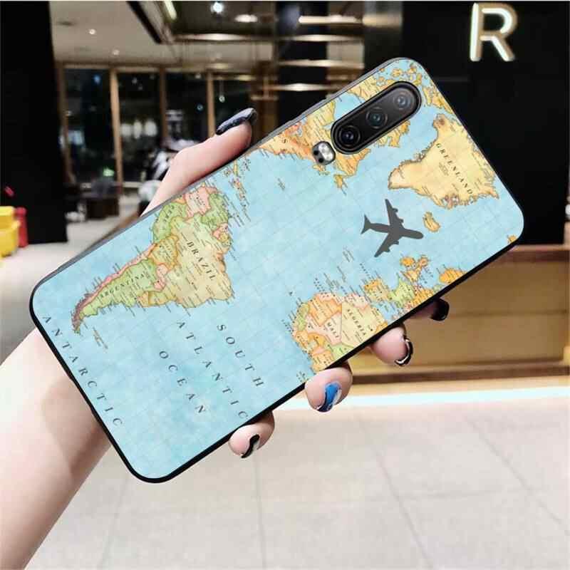 NBDRUICAI מפת עולם נסיעות מטוס שחור רך גומי טלפון כיסוי עבור Huawei P40 P30 P20 לייט פרו Mate 20 פרו P חכם 2019 ראש