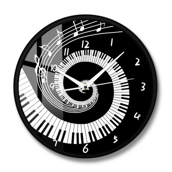 Elegant Piano Keys Black and White Modern Wall Clock Music Notes Wave Round Music Keyboard Wall Clock Music Lover Pianist Gift 8