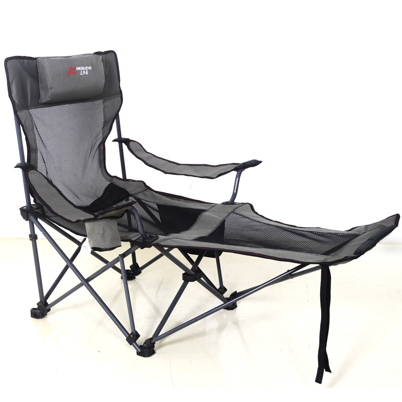 Outdoor Folding Recliner Portable Back Fishing Chair Wild Camping Leisure Beach Stool Stainless Steel Folding Chair Travel Seat