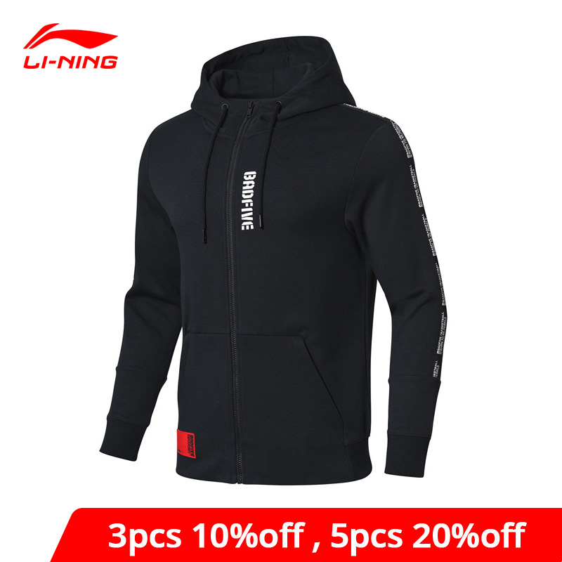 Li-Ning Men BAD FIVE Basketball Sweater Hoodie 82% Cotton 18% Polyester Regular Fit Li Ning LiNing Sport Sweater AWDP045 MWW1540