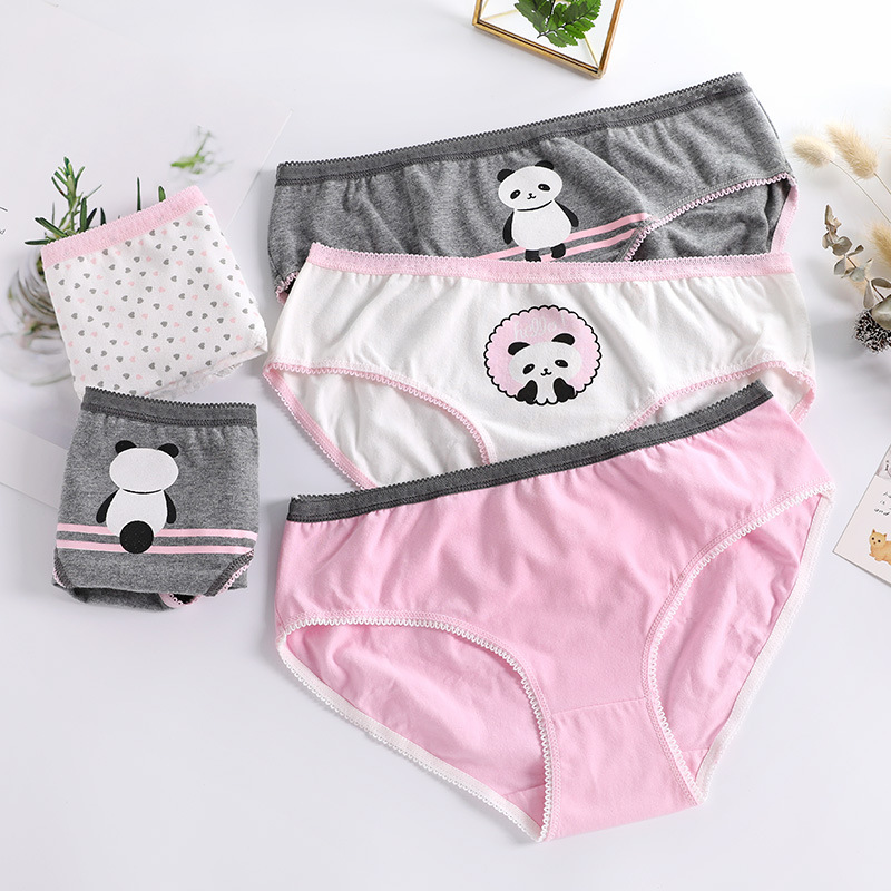 Puberty Girl Underwear Teenage Cotton Panties Children Cartoon Print Briefs Kids Cute Panda Panties Majtki Dziewczynka
