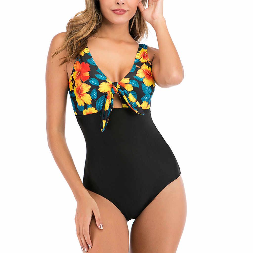 Bikinis exotiques body une pièce femmes été plage Sexy maillot de bain femme vacances Monokini fleur Patchwork rembourré bain Bikini