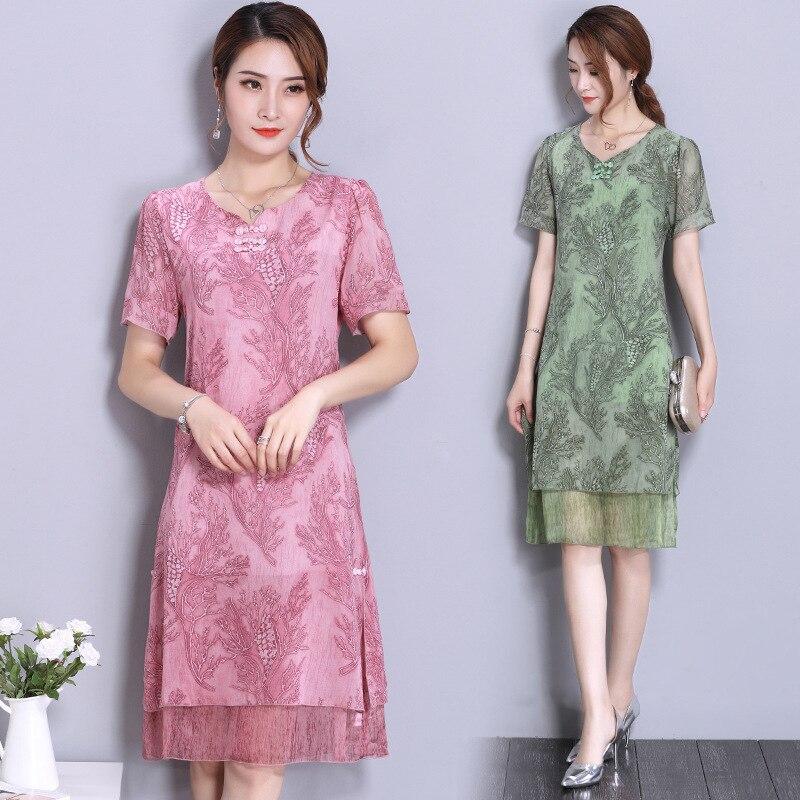 Photo Shoot Kuotaitai Silk Dress Women's 2019 Nobility Elegant Middle-aged Mom Skirt
