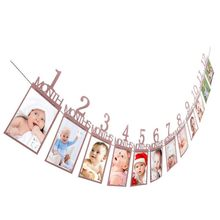 12 Pcs Baby Christening Baptism Photo folder Kids Birthday Gift Decorations Photo Banner Monthly Photo Wall Decro(China)