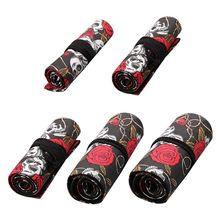Rose Skull 12/24/36/48/72 Holes Canvas Roll Pen Curtain Pencil Bag Case Makeup 19QA