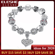 ELESHE Luxury Brand Women Bracelet Silver Color Crystal Charm Bracelet for Women DIY 925 Beads Bracelets