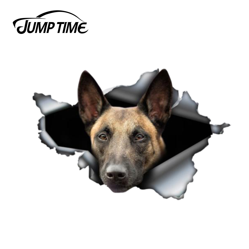 Jump Time 13cm X 8.8cm Belgian Malinois Sticker Torn Metal Bumper Decal Funny Car Stickers Window Trunk Animal 3D Car Styling