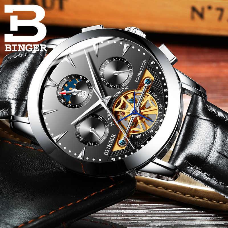 Suisse BINGER Business montre hommes squelette automatique horloge hommes Tourbillon étanche mécanique montre Relogio Masculino 2019