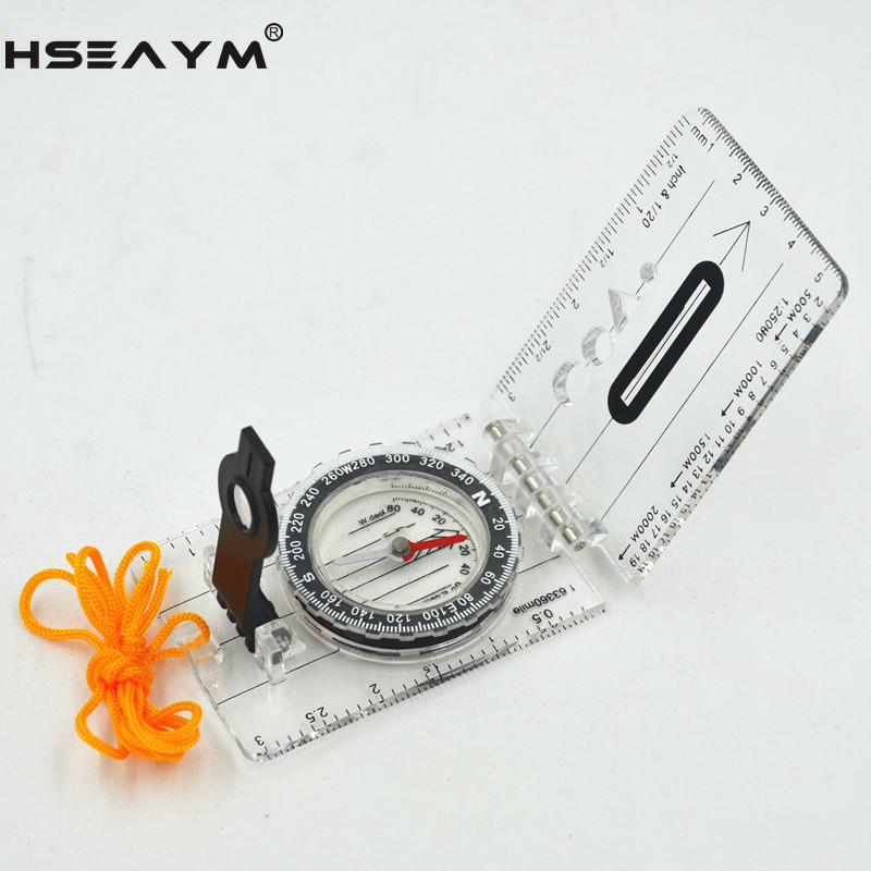 HSEAYM Drawing Scale Compass Folding Map Ruler Survival Tool Buckle Car Camping Hiking Pointing Guide Portable Handheld Compass