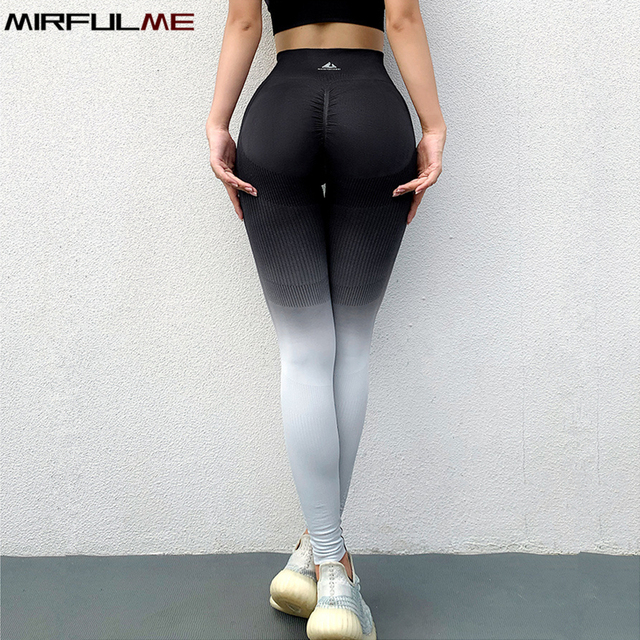 Women High Waist Sports Leggings Hip Lifting Slim Elastic Seamless Gradient Yoga Pant Girls Gym Fitness Running Tights Sportwear