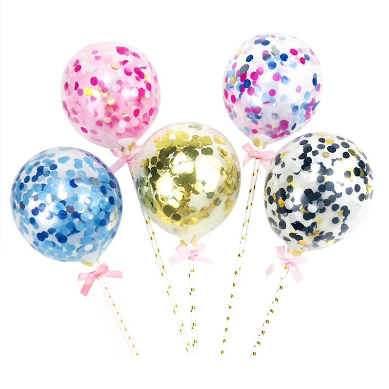 Cakelove 5inch Confetti Balloon Cake Topper Decoration With Straw Ribbon Table Baby Shower One Birthday Wedding Party Balloons