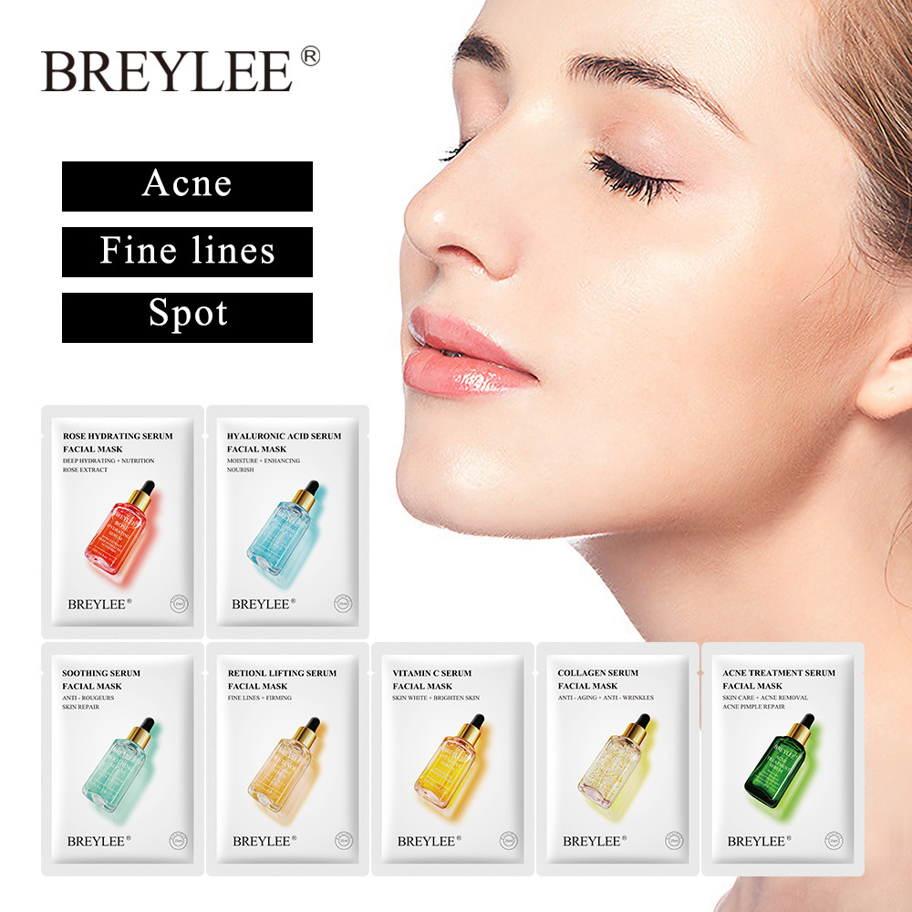 BREYLEE Face Mask Collagen Facial Sheet Mask Retinol Acne Treatment Serum Whitening Moisturizer Skin Care Anti Aging Vitamin C