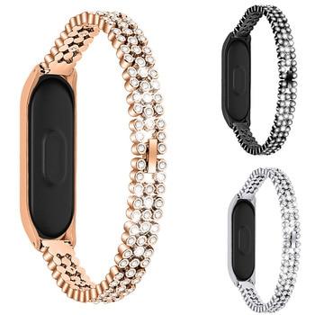 Stainless Steel Wrist Strap For Xiaomi Mi Band 3 4 Crystal Metal Watch Band Smart Bracelet For Miband 3 Belt Watch Straps Mi 3/4