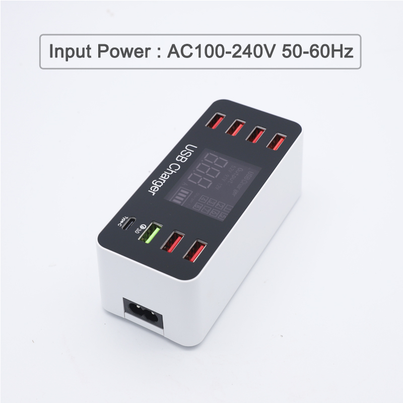 Universal 40W USB Quick Charger 5V 8A QC 3 0 for iPhone Fast charging 7 USB Ports with Type C Port for Huawei For Oneplus Phone in Mobile Phone Chargers from Cellphones Telecommunications