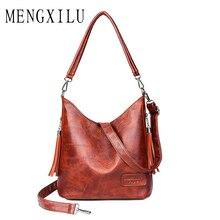 Retro Women Shoulder Messenger Bags 2019 Ladies Soft PU Leather Crossbody Bags for Women Handbag Sac Fashion Tassel Bucket Bag