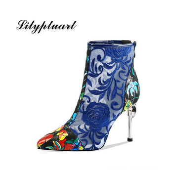 Chinese style leather embroidered net yarn high-heeled boots sexy thin heel printing pointed waterproof platform women's boots