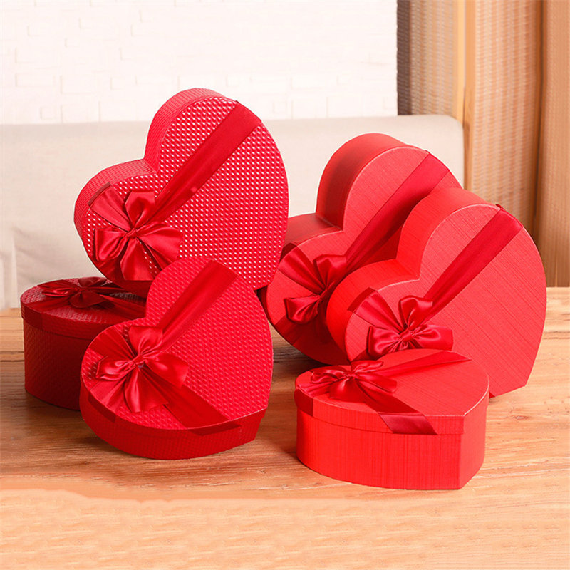 Florist Hat Boxes Red Heart Shaped Candy Boxes Set Of 3 Gift Box Packaging Boxes For Gifts Christmas Flowers Gifts Living Vase