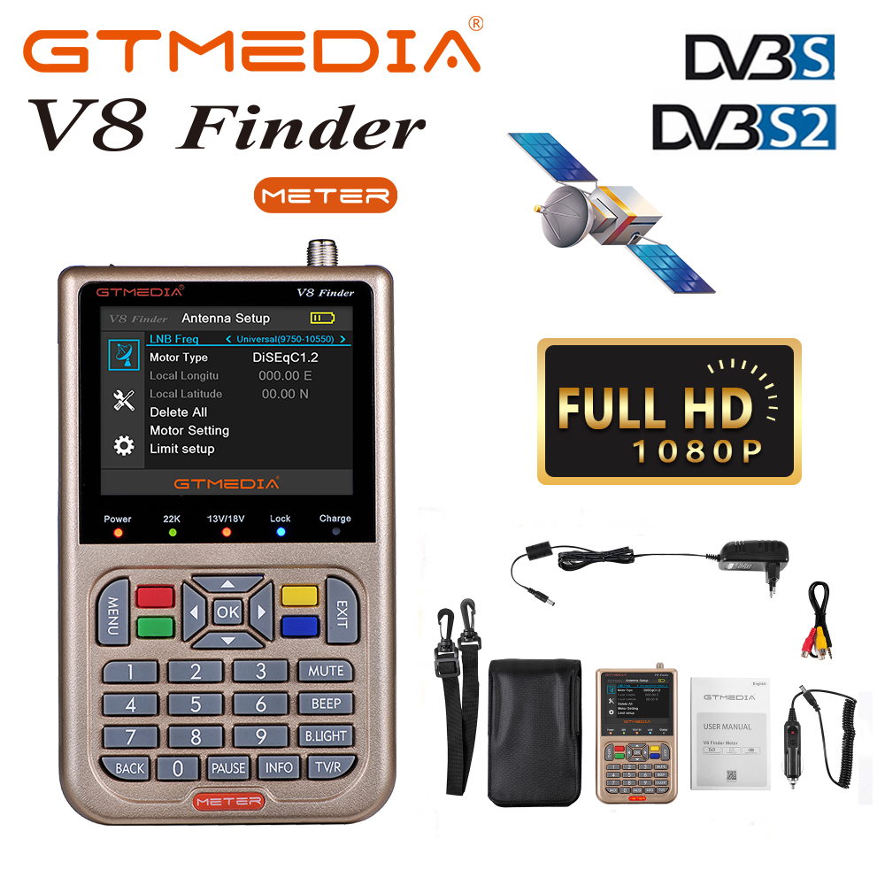 GTMEDIA/Freesat V8 Finder HD DVB-S2/S2X ACM Digital Satellite Finder High Definition Sat Finder Satellite Meter Satfinder 1080P