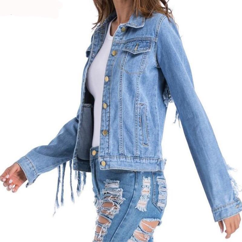 Image 4 - Women  Slim hot fashion holes Denim Jacket Lady Elegant Vintage  Jackets Basic Coats Large size fringe denim jacketJackets   -
