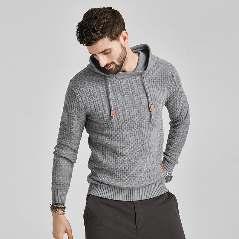 2020 New Men Winter Warm Hoodies Fashion Casual Knit Sweater Men High Quality Autumn Slim Hooded Men Sweater Pullover Coat 6
