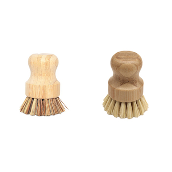 Useful High Quality Kitchen Cleaning Brush Sisal Palm Bamboo Short Handle Round Dish Brush Bowl Pot Brush Durable Cleaning Tool 2