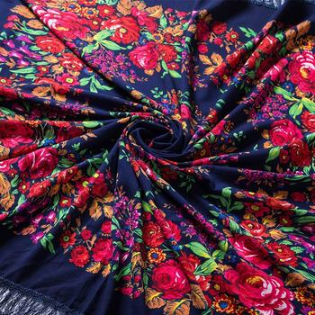 135 135cm Retro Russian National Square Scarf For Women Flower Pattern Print Head Wraps Ladies