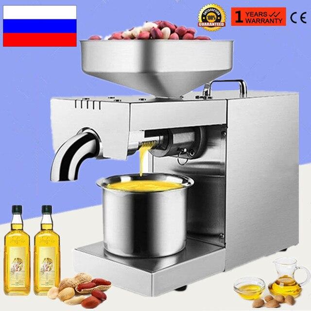 รัสเซียน้ำมันเครื่องสแตนเลสถั่วลิสง Presser น้ำมันสำหรับมะพร้าว Flaxseed Oil Extractor ร้อนเย็นกดน้ำมันเครื่อง