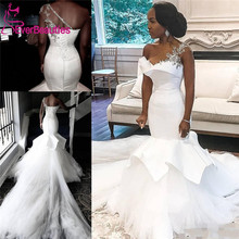 African Wedding Dresses 2020 One-Shoulder Mermaid Beaded Lace Up Plus Size Bridal Gowns Bride Dress Robe De Mariee wonderful off the shoulder mermaid african bridal dresses long lace appliques plus size wedding gowns robe de mariage