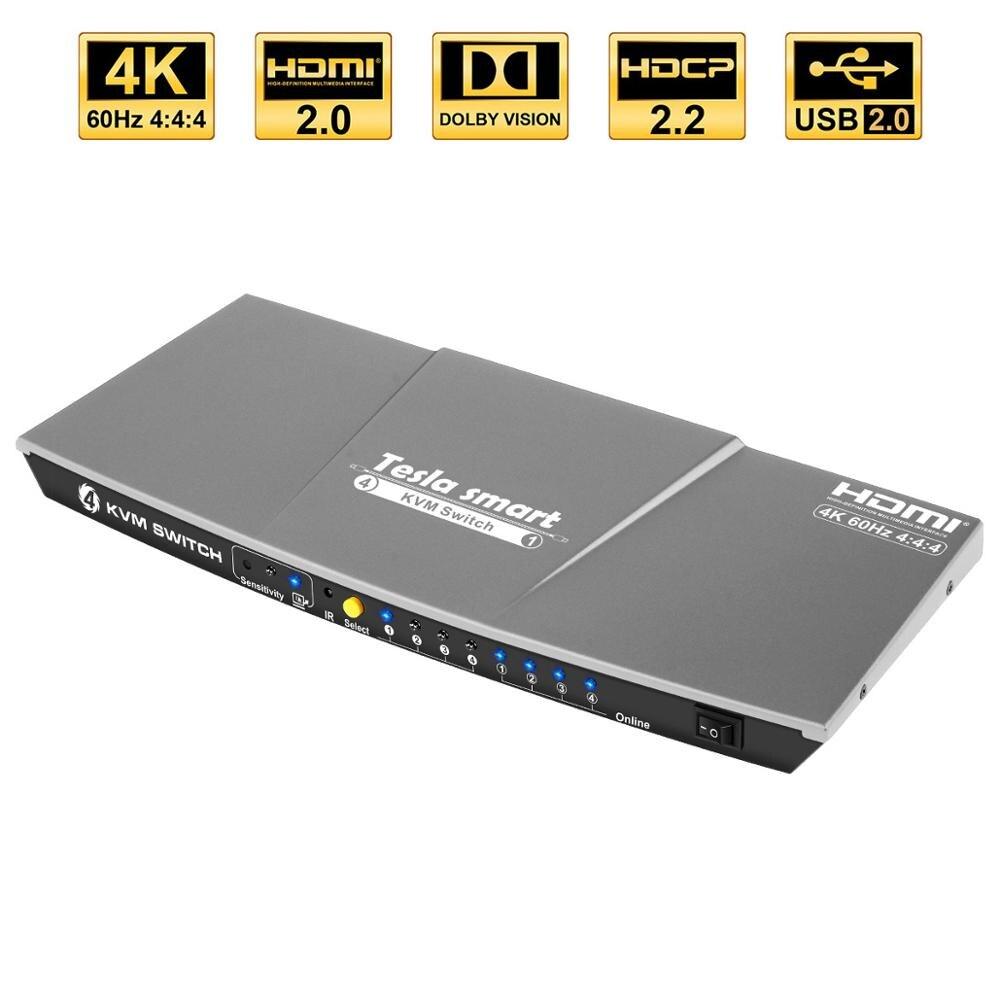 4x1 HDMI KVM Switch 4K@60Hz USB2.0 HDMI KVM 4x1 KVM Switcher 4 Ports HDMI Support IR Remote Control 4 PCs