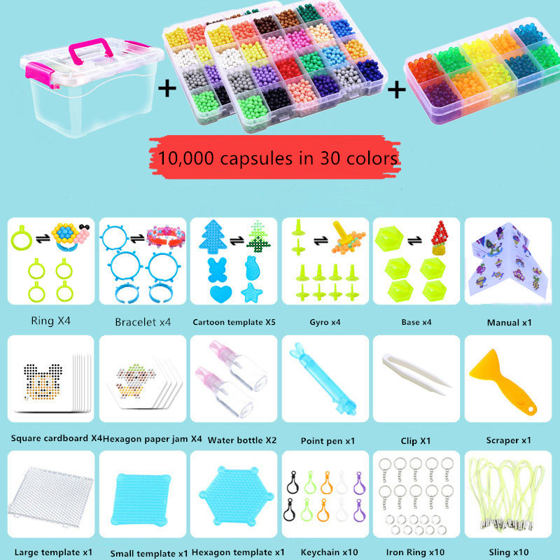 6000 Pcs DIY Magic Beads Storage Box Animal Molds Hand Making 3D Puzzle Kids Educational Beads Toys For Children Spell Replenish