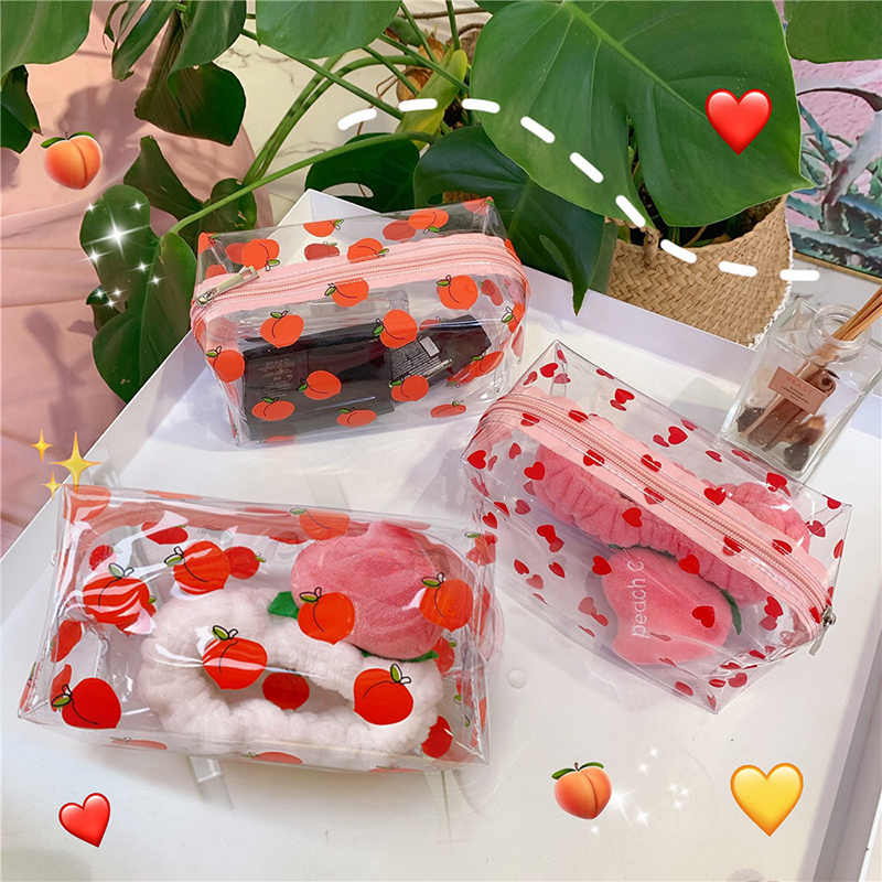Waterproof Transparent Cosmetic Cute Bags Storage Pouch Makeup Organizer Clear Case Toiletry Bag PVC Zipper Travel Toiletry