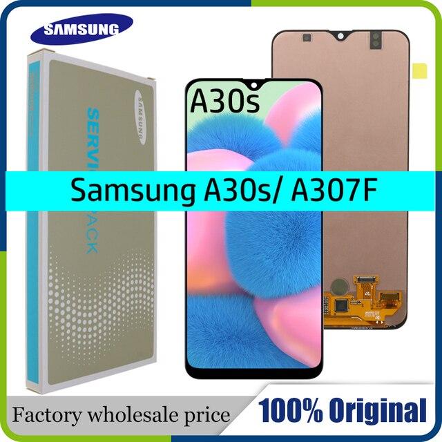 "Original 6.4 ""AMOLED สำหรับ Samsung Galaxy A30s A307F A307 A307FN หน้าจอ LCD เปลี่ยน Digitizer ASSEMBLY + แพคเกจบริการ"