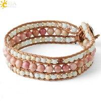 CSJA, браслеты с натуральным драгоценным камнем и бисером для женщин, плетеный браслет из родонита и кожи, богемные браслеты ручной работы, юв...