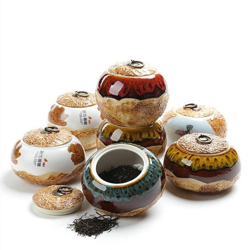 Elegant Retro Tea Canister Box Ceramic Multi Color Tea Caddy Coffee Storage Box  Jar Dry Fruit Sealed Cans 5 Sizes Chinese style|Tea Caddies| |  - title=