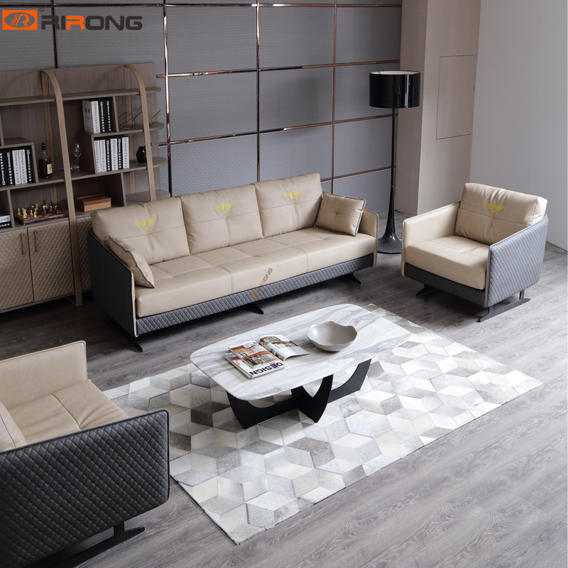 Lxury Elegant Home Living Room Office Executive Leather Sofa Couch  Chair Marble Stone Sofa Set
