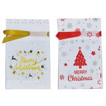 50PCS Christmas Candy Bag Reusable Drawstring Bag Storage Pouch for Christmas Gift christmas baubles pattern candy drawstring storage bag
