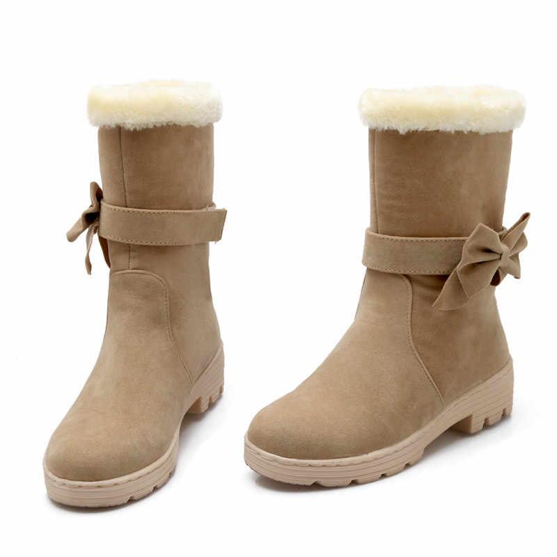 ASUMER 2020 moda kış sıcak bayanlar tutmak çizmeler yuvarlak ayak kayma kadın yarım çizmeler med topuklu rahat bayan kar botları
