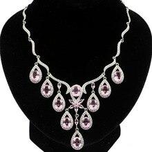 56x32mm Beautiful Created Pink Kunzite White CZ Woman's Silver Necklace 19-19.5