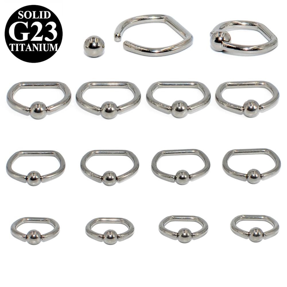 Titanium Captive Ball Bead Hoop Cartilage Septum Ear Earrings Nose Ring Piercing