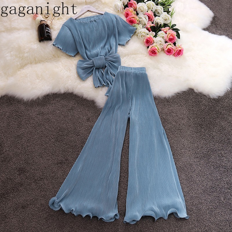Gaganight 2019 Casual 2 Piece Set Women Two Pieces Set Short Sleeve Chiffon Blouse Flare Ruffle Wide Leg Pants Suit Thin Outfits