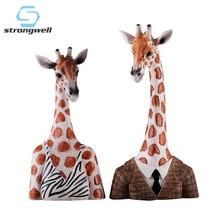 Strongwell Vintage Home Decor Giraffe Miniatures Figurines Resin Craft Decoration Accessories Desktop Christmas
