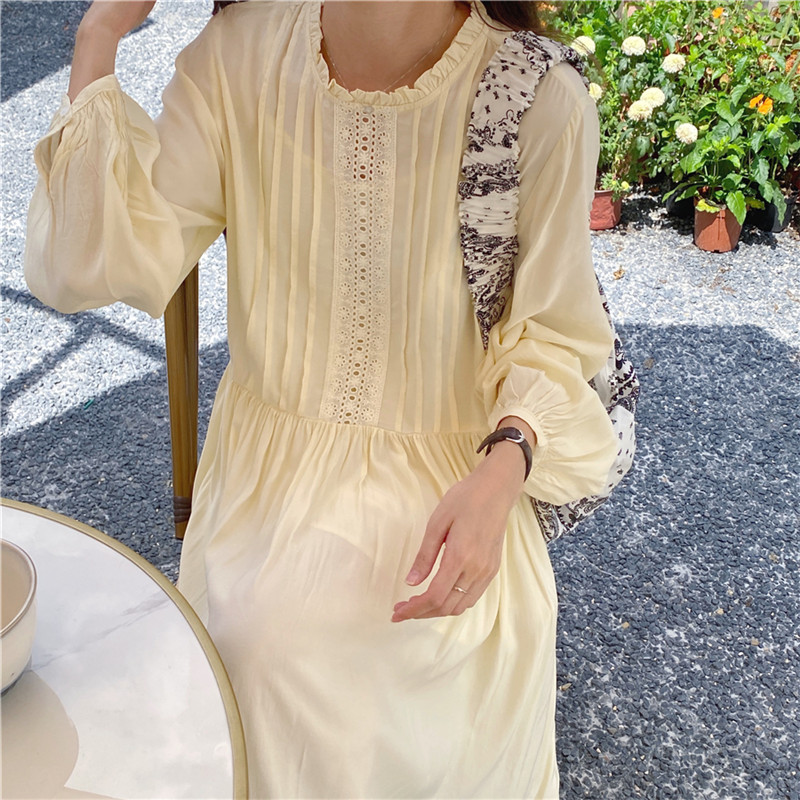 H2b5348a7569b4b918f97898a87487386b - Autumn O-Neck Lantern Sleeves Loose Lace Solid Dress